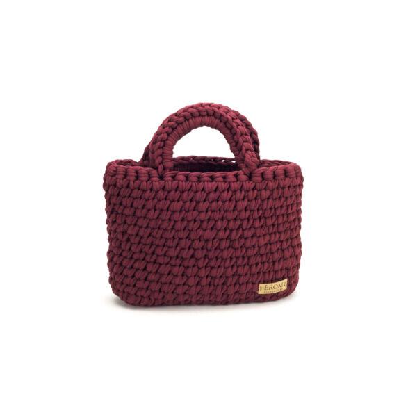 Pólófonalból horgolt táska - kicsi basic bordó | P5101