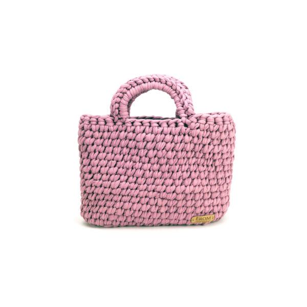 Pólófonalból horgolt táska - kicsi basic mályva | P5101