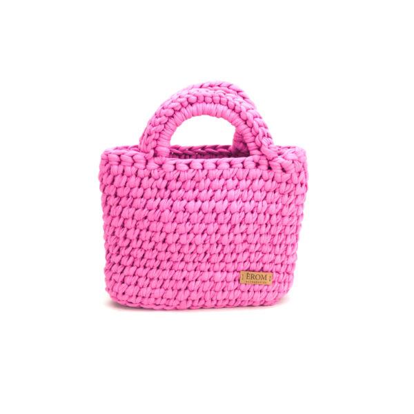 Pólófonalból horgolt táska - kicsi basic rágógumi | P5101